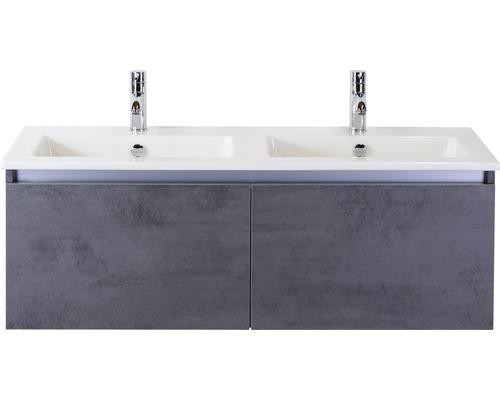 Badmöbel-Set Frozen 120 cm mit Doppelwaschtisch Keramik 2 Hahnlöcher Beton anthrazit