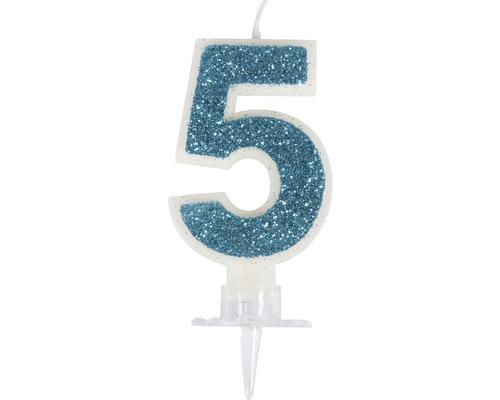 """Zahlenkerze """"5"""" mit Glitter und Halter"""