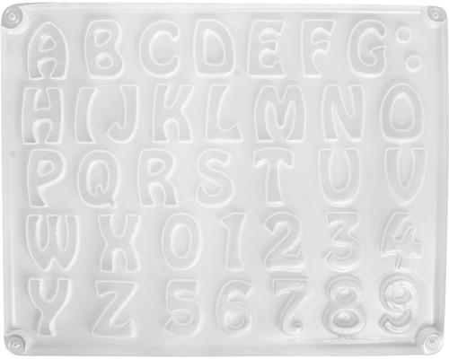Gießform: Buchstaben/Zahlen, 37 Motive