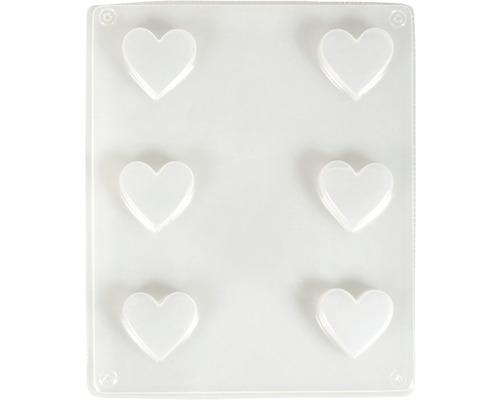 Gießform: Herzen, 3,3cm ø, 6 Herzen