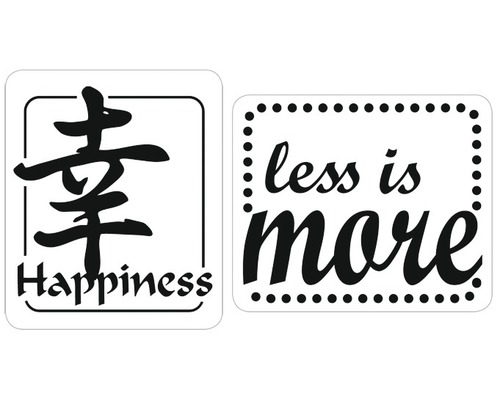"""Labels """"Happiness"""" + """"less is more"""", 2 Stück"""