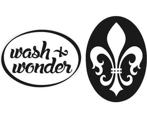"""Labels """"wash&wonder"""" + Lilie, 2 Stück"""