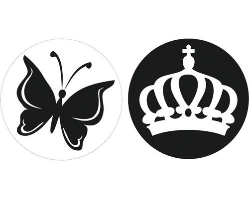Labels Schmetterling + Krone, 30mm ø 2 Stück