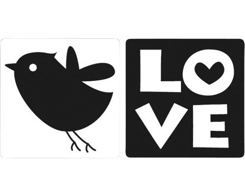 """Labels """"Love"""" + Vogel, 2 Stück"""