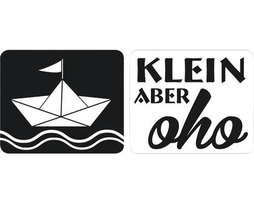 """Labels Schiffchen + """"Klein aber oho"""", 2 Stück"""