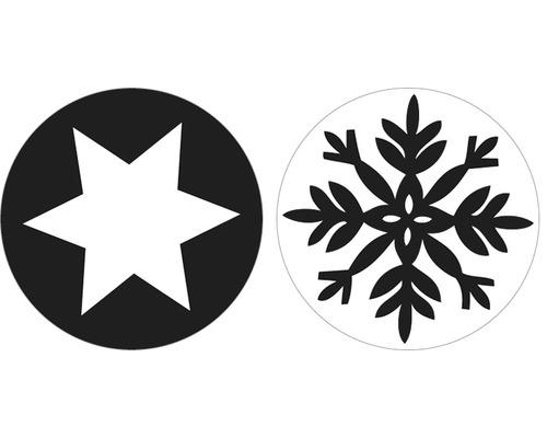 Labels Schneeflocke + Stern, 30mm ø, 2 Stück