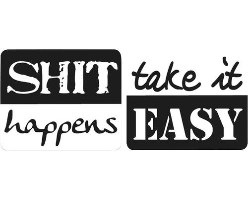 """Labels """"Shit happens"""" + """"take it Easy, 2 Stück"""