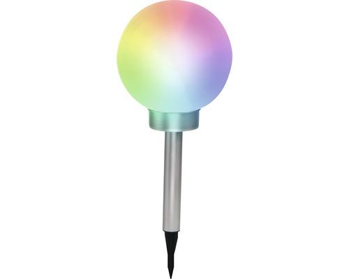 LED Solarkugel RGBW IP44 mit Erdspieß warmweiß edelstahlfarben weiß Ø 200 mm