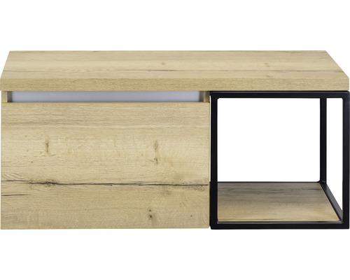 Waschtischunterschrank Frozen 100 cm mit Waschtischplatte und Metallregal Eiche natur / schwarz