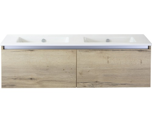Badmöbel-Set Frozen 140 cm mit Doppelwaschtisch Keramik ohne Hahnloch Eiche natur
