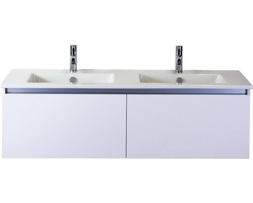 Badmöbel-Set Frozen 140 cm mit Doppelwaschtisch Keramik 2 Hahnlöcher weiß hochglanz
