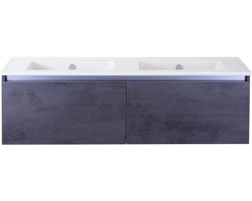 Badmöbel-Set Frozen 140 cm mit Doppelwaschtisch Keramik ohne Hahnloch Beton anthrazit
