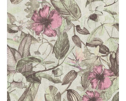 Vliestapete 37216-4 Greenery Blumen rosa grün