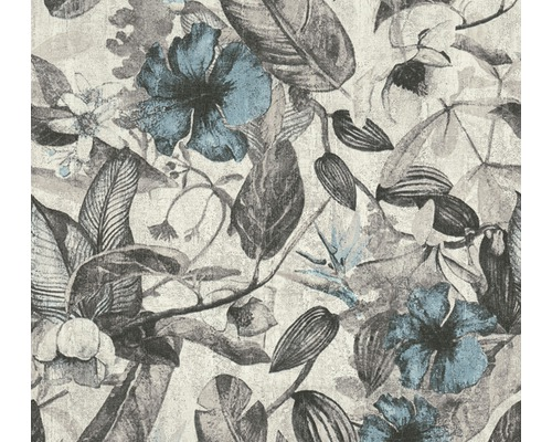 Vliestapete 37216-2 Greenery Blumen blau grau