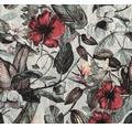 Vliestapete 37216-1 Greenery Blumen rot graugrün