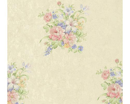 Vliestapete 37225-1 Romantico grün Bouquet rosa