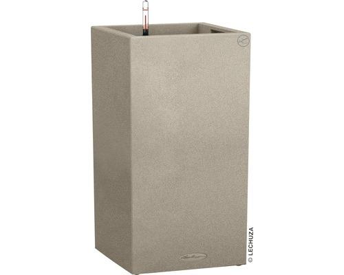 Pflanzvase Lechuza Canto Stone 40 x 40 x H 76 cm beige inkl. Erdbewässerungsystem Pflanzeinsatz Substrat Wasserstandsanzeiger