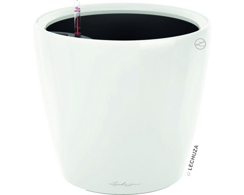 Blumentopf Lechuza Classico LS Ø 21 x H 20 cm weiß inkl. Erdbewässerungsystem Pflanzeinsatz Substrat Wasserstandsanzeiger