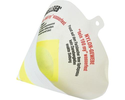 Lacksieb Farbsieb weiß gelb 14,5 x 14,5 x 12 cm