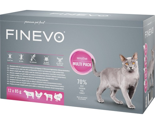 Katzenfutter nass Sensitive Cat FINEVO Mix 12x85 g