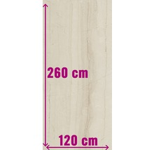 XXL Feinsteinzeug Wandfliese Living cream poliert beige 120 x 260 cm 7 mm