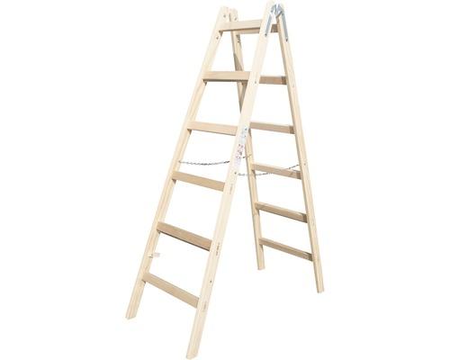 Sprossenstehleiter Holz Riedel, 2x 6 Stufen