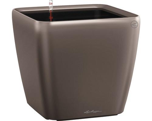 Pflanzkübel Lechuza Quadro 28 x 28 x H 26 cm espresso inkl. Erdbewässerungsystem Pflanzeinsatz Substrat Wasserstandsanzeiger