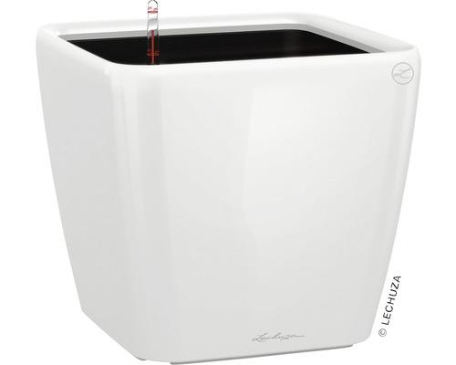 Pflanzkübel Lechuza Quadro 35 x 35 x H 33 cm weiß inkl. Erdbewässerungsystem Pflanzeinsatz Substrat Wasserstandsanzeiger