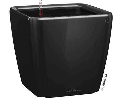 Pflanzkübel Lechuza Quadro 35 x 35 x H 33 cm schwarz inkl. Erdbewässerungsystem Pflanzeinsatz Substrat Wasserstandsanzeiger