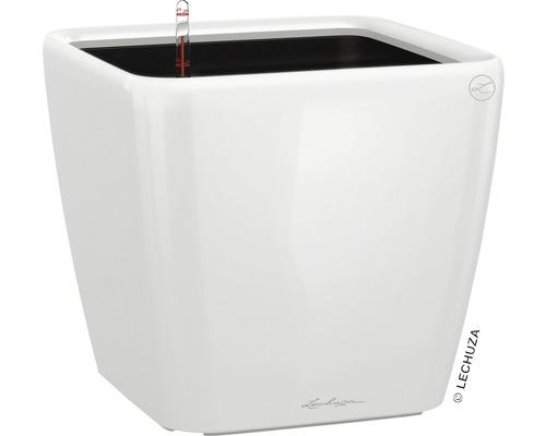 Pflanzkübel Lechuza Quadro 43 x 43 x H 39 cm weiß inkl. Erdbewässerungsystem Pflanzeinsatz Substrat Wasserstandsanzeiger