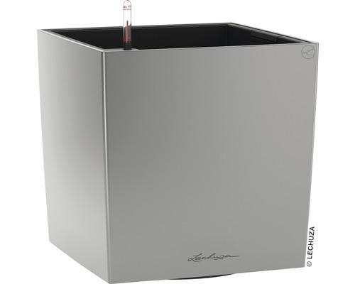 Pflanzkübel Lechuza Cube 40 Komplettset silber inkl. Erdbewässerungsystem Pflanzeinsatz Substrat Wasserstandsanzeiger