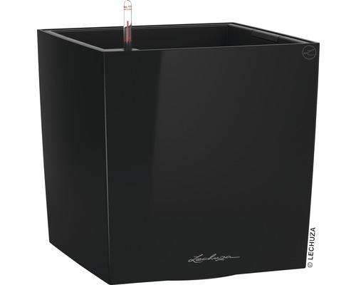 Pflanzkübel Lechuza Cube 40 Komplettset schwarz inkl. Erdbewässerungsystem Pflanzeinsatz Substrat Wasserstandsanzeiger