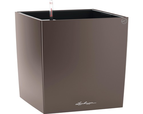 Pflanzkübel Lechuza Cube 50 Komplettset espresso inkl. Erdbewässerungsystem Pflanzeinsatz Substrat Wasserstandsanzeiger