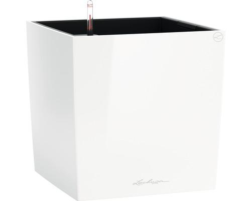 Pflanzkübel Lechuza Cube 50 Komplettset weiß inkl. Erdbewässerungsystem Pflanzeinsatz Substrat Wasserstandsanzeiger