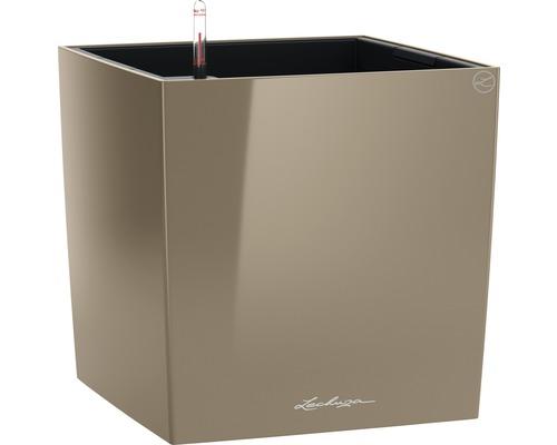 Pflanzkübel Lechuza Cube 50 Komplettset taupe inkl. Erdbewässerungsystem Pflanzeinsatz Substrat Wasserstandsanzeiger