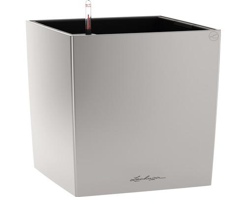 Pflanzkübel Lechuza Cube 50 Komplettset silber inkl. Erdbewässerungsystem Pflanzeinsatz Substrat Wasserstandsanzeiger