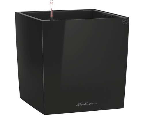 Pflanzkübel Lechuza Cube 50 Komplettset schwarz inkl. Erdbewässerungsystem Pflanzeinsatz Substrat Wasserstandsanzeiger