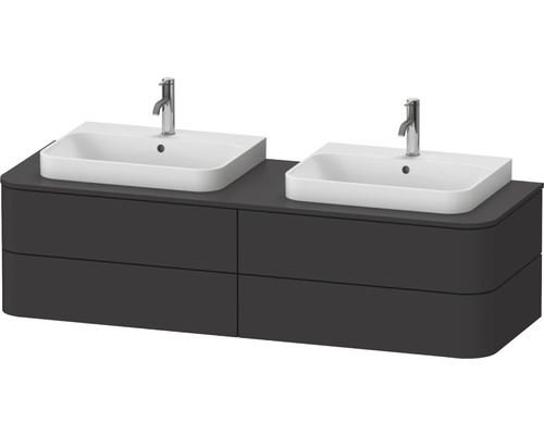 Waschtischunterschrank Happy D.2 Plus wandhängend mit 2 Auszügen für Becken beidseitig 160 x 55 cm graphit supermatt ohne Waschtisch und Konsole HP4974B8080