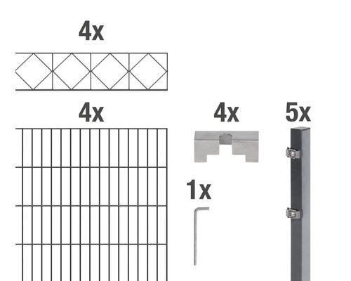 Doppelstabmatten-Set Bergen 200 x 120 cm, 8 m, anthrazit