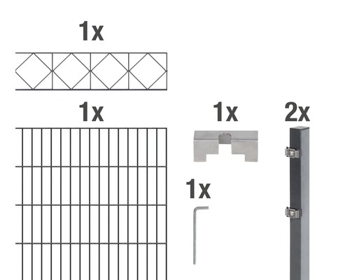 Doppelstabmatten-Set Bergen 200 x 140 cm, 2 m, anthrazit