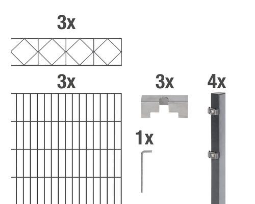 Doppelstabmatten-Set Bergen 200 x 160 cm, 6 m, anthrazit
