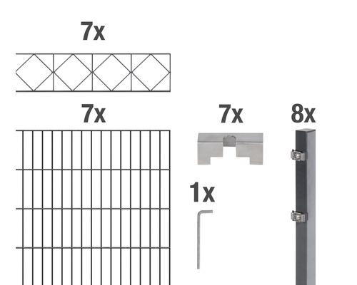 Doppelstabmatten-Set Bergen 200 x 160 cm, 14 m, anthrazit