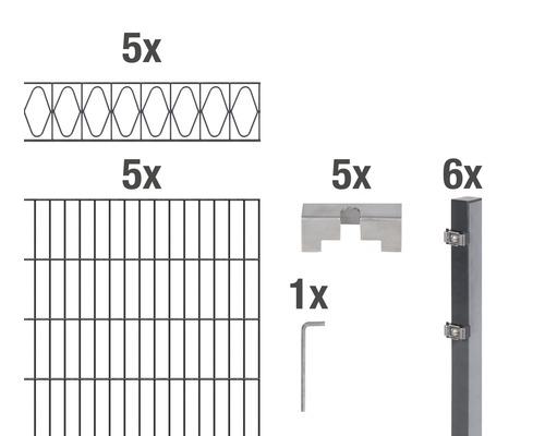 Doppelstabmatten-Set Eleganz 200 x 120 cm, 10 m, anthrazit