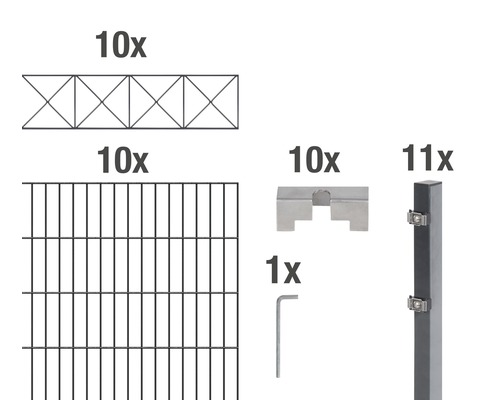 Doppelstabmatten-Set Nexus 200 x 160 cm, 20 m, anthrazit