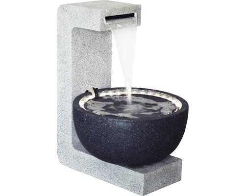 Design Gartenbrunnen mit runder Schale 52x44x65 cm Kunststein grau inkl. Schlauch und Pumpe
