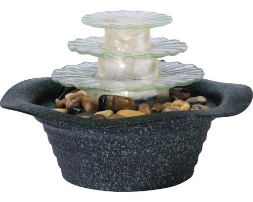 Design Tischbrunnen mit Licht und Ziersteinen Kunststein grün inkl. Schlauch und Pumpe