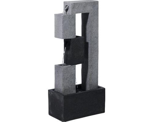 Design Gartenbrunnen mit LED 40,5x21,5x90,5 cm Kunststein grau inkl. Schlauch und Pumpe