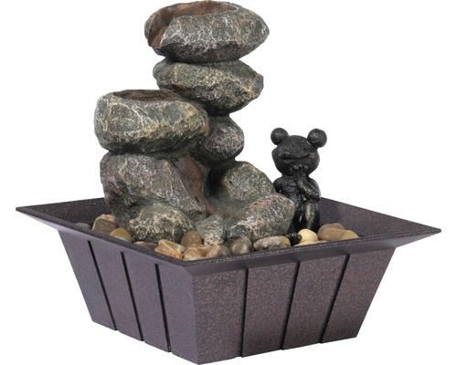 Design Zimmerbrunnen mit Zierfrosch klein 20x20x21,5 cm Kunststein grau inkl. Schlauch und Pumpe