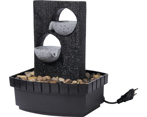 Design Zimmerbrunnen mit 2 Schalen 20,5x16,5x28 cm Kunststein grau inkl. Schlauch und Pumpe