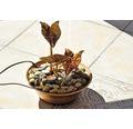 Design Zimmerbrunnen mit Blättern 22,5x22,5x23,5 cm Kunststein bronze inkl. Schlauch und Pumpe